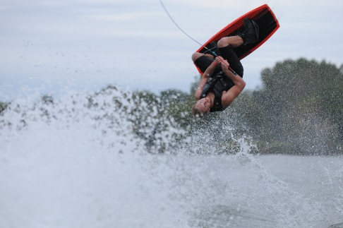 Austen Denning searching for a landing in the spray.