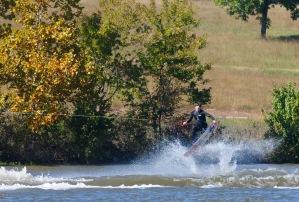 Jack Schoepp splashing into the treeline.